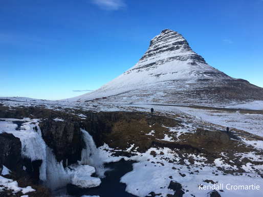 The mountain that stole my breath away-- Kirkjufell. She looks different depending on where you're standing. My favorite view of her was when she transformed into a shark's fin, cresting above the waterfalls of the same name.